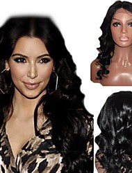 16Inch Indian Remy Hair Lace Front Wig Beauty Wave Top Middle Part 4 Color