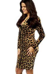 fa&étoiles de style occidental y femmes slim sexy sur manches longues hanche robe léopard