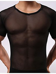 Men's White/Black underwear Sexy Net Yarn Transparent Short Sleeve