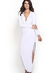 vestito personalità collare sexy backless manica lunga profonda-v di caro-lover®women midi