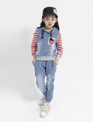 Girl's Fashion Casual Lovely Stripe Bull-Puncher Suit (Including Shirt,Pants)