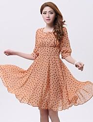 Women's Black/Orange Dress , Bodycon/Casual/Print/Plus Sizes ½ Length Sleeve