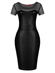 MS As mulheres de costura malha Vestido Magro