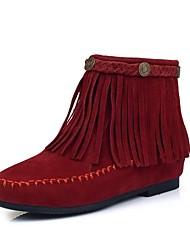 Beflockung Frauen Flache Heel Booties / Ankle Boots mit Quaste (weitere Farben)