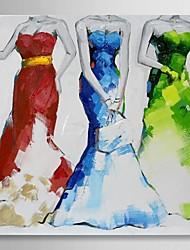 peints à la main peinture à l'huile gens trois femmes portent des robes de soirée avec cadre étiré