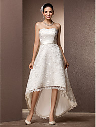 Lanting Bride® A-line / Princess Petite / Plus Sizes Wedding Dress - Chic & Modern / Reception Little White Dresses Asymmetrical