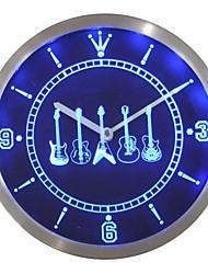 salle de musique d'armes de guitare signe de néon led horloge murale