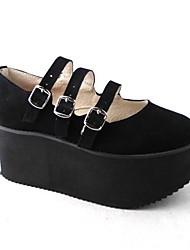 Handmade Pure Black Suede sete centímetros Wedge clássico e tradicional Lolita Shoes