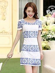 Frauen Blau Weiß Porzellan Of Bud Seidenkleid