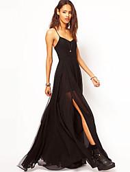 BLK V Neck Strap battenti vestito sottile Maxi Dress