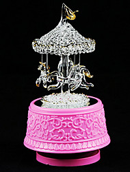 Elegant Crystal Carouse Design Perfecrt Details Music Box with LED