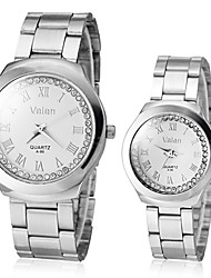 Couple's Diamante ronde Dial legering band Quartz analoog Dress Watch (verschillende kleuren)