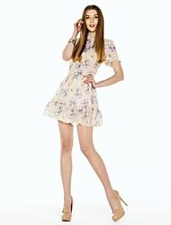 Women's Dress , Chiffon/Polyester Mini Sleeveless