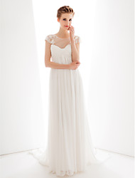 Lan Ting Sheath/Column Wedding Dress - Ivory Sweetheart Sweep/Brush Train Chiffon