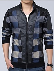 Men's Long Sleeve Jacket , Cotton Casual Plaids & Checks