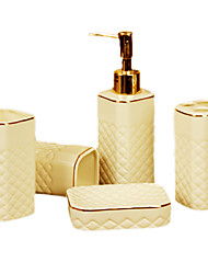 Bath Ensemble,5 Piece White Ceramic With The Golden Circle,Bathroom Accessories Set