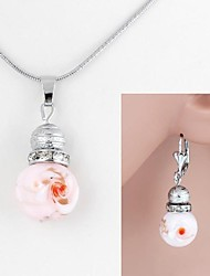 Glass Pendant Metal Set Diamond Necklace+Earrings Set (1Set)