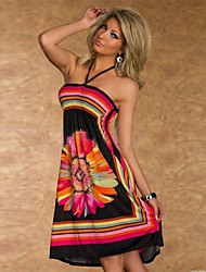 Easyace Women's Halter Floral Print Tube Dress