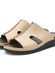 мужская кожаная плоским пятки флип-флоп сандалии разделить совместные обувь (больше цветов)