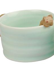 Roman mignon en céramique avec tasse de chat-Forme Gadget, L8.7cm x W8.7cm x H5.5cm