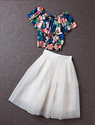 Women's Flowers Chiffon Blouse Posed Bitter Fleabane Bitter Fleabane Skirt Of Tall Waist A Suit