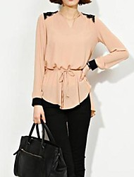 Women's Lace Blouse , V Neck Long Sleeve Lace/Ruffle