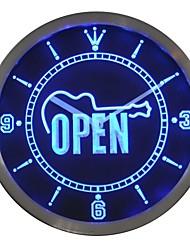 Guitare OUVERT pièce de bande cadeau enseigne au néon Horloge murale LED