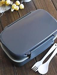 Japanese Style Tableware Grey 2 Tier Bento Lunch Box(Random Color)