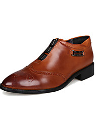 Men's Spring Summer Fall Winter Comfort Leather Office & Career Casual Flat Heel Black Brown