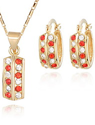 Fanccy Gold-Plating Crystal Diamonade Simple Earrings Necklace SetS044 Screen Color(Necklace:45CM)