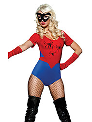 Popular Spider Girl Red & traje de Halloween da Azul Terylene Mulheres