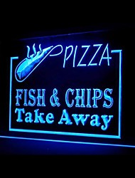 Pizza Fish Chips Take Away Food Promotion Green Blue Red White Orange Purple Yellow Advertising LED Light Sign