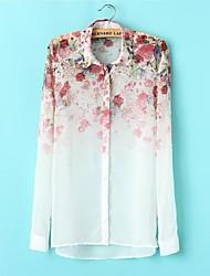 Skymoto ® kvinner Chiffion Blomster langermet Bluser