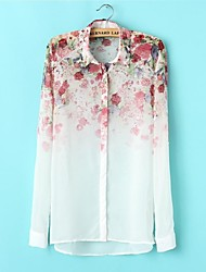 Skymoto ® Women's Chiffion Bloemen lange mouwen Blouses