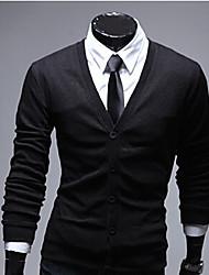 Casual manga comprida suave cor sólida Cardigan Masculina Kuxing (Black)