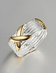 Lucky Doll Women's Silver Color Block Ring