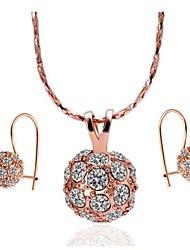 Women's Rose Gold Rhinestone (Necklace&Earrings) Jewelry Sets