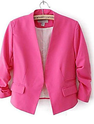 Women's Blue/Pink/Red/Black/Yellow Blazer , Vintage/Casual/Work ¾ Sleeve