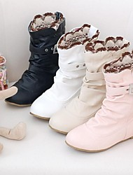 Women's Fall Winter Fashion Boots Leatherette Dress Low Heel Black Pink White Beige