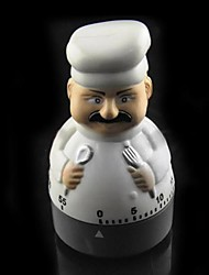Cartoon Chef Shaped Mechanical Kitchen Timer  Plastic 2.4x2.4x4 inch