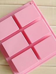 5 pcs 6 cavidades 3d artesanais moldes sabão retângulo bolo de chocolate, silicone 8 × 5,5 × 2,5 cm (3,1 × 2,2 × 1,0 polegadas)