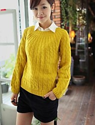 Women's Blue/Pink/Red/Black/Yellow/Beige Pullover , Casual/Cute Long Sleeve
