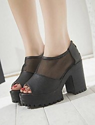 Chunky Heel Peep Toe Sandales Chaussures pour femmes