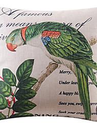 papagaio país e deixa algodão / linho fronha decorativo