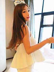 Women's Solid White/Black Shirt , Strap Sleeveless Ruffle