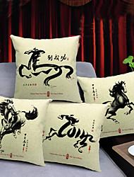 conjunto de 4 chinese impressão cavalo algodão / linho fronha decorativo