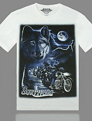 Men's Rock-Sded 3D Animal Pattern Round Neck White Short-Sleeved T-Shirt