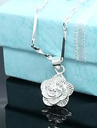 Glücklich Puppe Frauen Silver Rose Halskette