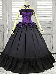 Strapless Floor-length Black and Purple Cotton Gothic Lolita Dress
