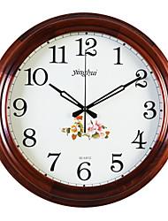 """15.6 """"Country Style Floral escuro redondo Madeira Cor Relógio de parede"""